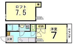 PLUS ONE 衣笠/[1-C号室]の間取り