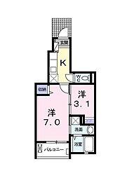 東京都江戸川区南篠崎町1丁目の賃貸アパートの間取り