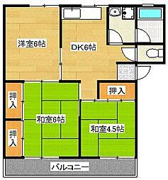 第1稲永コーポ[302号室]の間取り