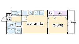 仮称)深草町通町新築マンション 2階1LDKの間取り