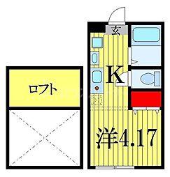 JR京葉線 南船橋駅 徒歩23分の賃貸アパート 2階ワンルームの間取り