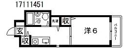 パラディ西田辺[4階]の間取り