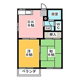 ハイツローラルA[2階]の間取り