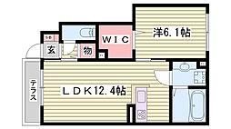 JR東海道・山陽本線 明石駅 バス15分 西区役所前停下車 徒歩8分の賃貸アパート 1階1LDKの間取り