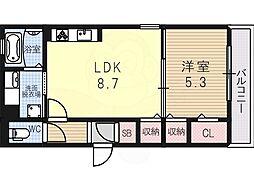 アビタシオン加美北 2階1LDKの間取り