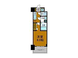 阪神なんば線 九条駅 徒歩3分の賃貸マンション 8階1Kの間取り