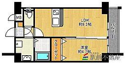 西鉄天神大牟田線 西鉄久留米駅 徒歩5分の賃貸マンション 6階1LDKの間取り