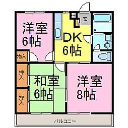 愛知県知多市にしの台4丁目の賃貸アパートの間取り