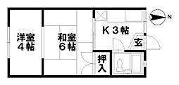 石川県野々市市菅原町の賃貸アパートの間取り