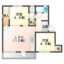 神陵台厚生年金住宅5号棟[1階]の間取り