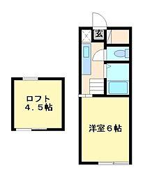 栃木県宇都宮市一ノ沢町の賃貸アパートの間取り