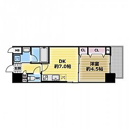 スタシオン俊徳道 2階1DKの間取り