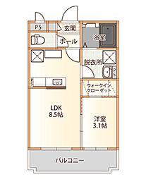 ル・ホプシィ・ジャルダン 2階1LDKの間取り