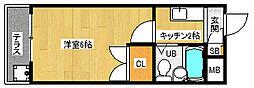 京都府京都市西京区山田庄田町の賃貸マンションの間取り