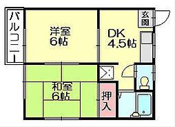 福岡県糟屋郡志免町田富4丁目の賃貸アパートの間取り