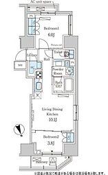 東京メトロ日比谷線 神谷町駅 徒歩8分の賃貸マンション 10階2LDKの間取り