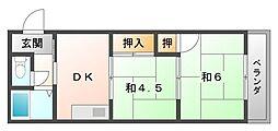 大阪府寝屋川市清水町の賃貸マンションの間取り