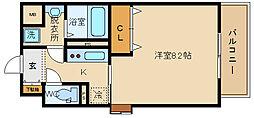 スペチアーレ 桜ケ丘 3階1Kの間取り