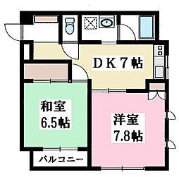 神奈川県藤沢市円行の賃貸マンションの間取り