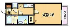 Osaka Metro谷町線 野江内代駅 徒歩4分の賃貸マンション 6階1Kの間取り