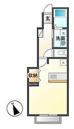 栃木県宇都宮市竹林町の賃貸アパートの間取り