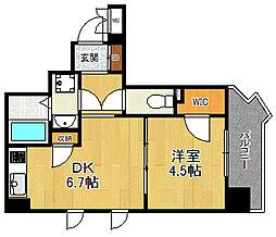JR東海道・山陽本線 立花駅 徒歩1分の賃貸マンション 8階1DKの間取り