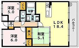 セザール平野[8O2号室号室]の間取り