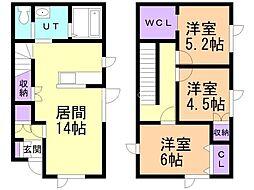JR石北本線 新旭川駅 徒歩26分の賃貸一戸建て 1階3LDKの間取り