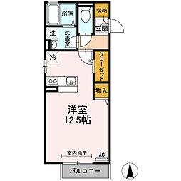 高松琴平電気鉄道志度線 春日川駅 徒歩8分の賃貸アパート 2階ワンルームの間取り