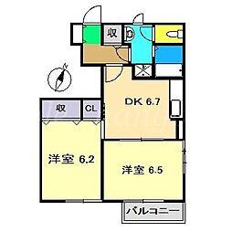 ヴィラ緑ヶ丘II[1階]の間取り