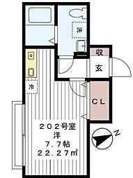 千葉県習志野市大久保4の賃貸アパートの間取り