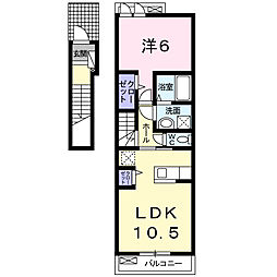 クラールK 2階1LDKの間取り