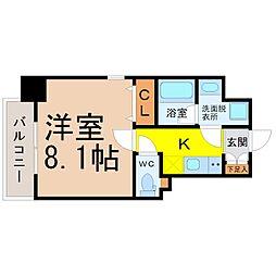 レジデンシア花の木 4階1Kの間取り