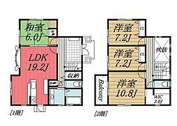 [一戸建] 千葉県千葉市若葉区都賀の台1丁目 の賃貸【/】の間取り