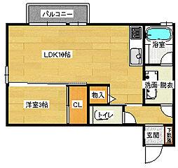 広島県広島市南区東雲本町2丁目の賃貸アパートの間取り