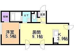 エル澄川 3階1LDKの間取り