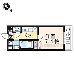 ロイヤルクイーンズパーク吹田片山町 7階1Kの間取り