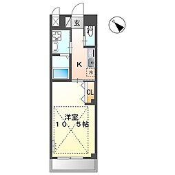 JR横浜線 矢部駅 徒歩9分の賃貸マンション 3階1Kの間取り