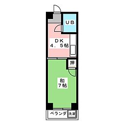 鬼頭第2土古ビル[4階]の間取り