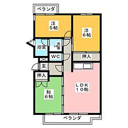 グリーンサイドハウスN棟[2階]の間取り