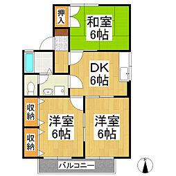 ジュネスKUBOTA A棟[1階]の間取り