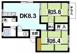 奈良県奈良市百楽園5丁目の賃貸アパートの間取り