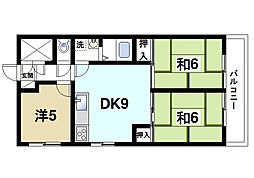奈良県天理市西長柄町の賃貸マンションの間取り