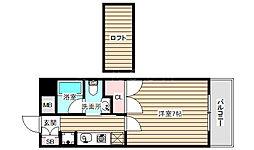 W.O.B.FUKUSHIMA 9階1Kの間取り