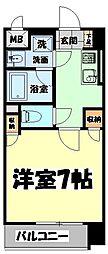 仙台市地下鉄東西線 大町西公園駅 徒歩6分の賃貸マンション 4階1Kの間取り