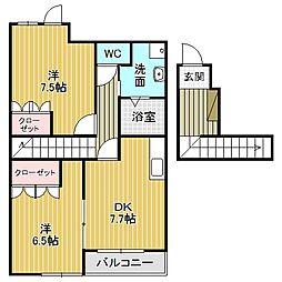 愛知県名古屋市中川区戸田3丁目の賃貸アパートの間取り
