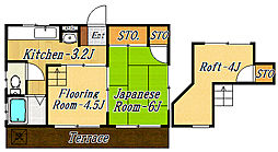 フラワーハイム[1階]の間取り