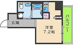 リンクハウス南堀江 5階ワンルームの間取り