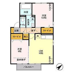 ベルボナール B[2階]の間取り