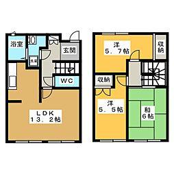 [テラスハウス] 青森県青森市沖館4丁目 の賃貸【青森県 / 青森市】の間取り